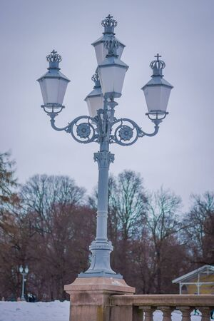 Close up of public park lantern at the Royal Palace in Oslo, in Norway.