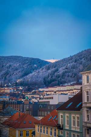 Beautiful outdoor view from over the roof, Bergen, Norway. Bergen is on of famous destination in Norway with its beauty and unique Norwegian architecture wooden house