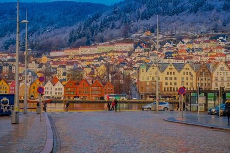 Bergen, Norway - April 03, 2018: Gorgeous outdoor view of historical buildings in Bryggen- Hanseatic wharf in Bergen, Norway. UNESCO World Heritage Site