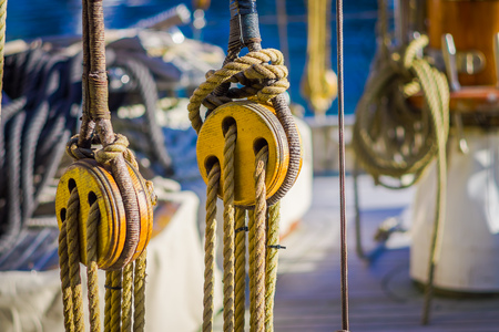 Close up of selective focus of ropes on boat in port of Alesund in Norway, Scandinavia, Europe.