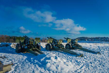 Outdoor view of antiaircraft gun in Trondheim Stock Photo