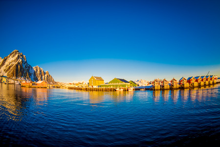 Svolvaer village in the Lofoten Islands in Norway. Landscape of Lofoten Islands.