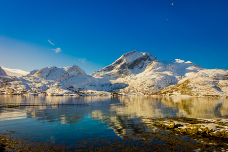 Astonishing scenic view of mountain peaks and reflection in water on Lofoten islands in Norway