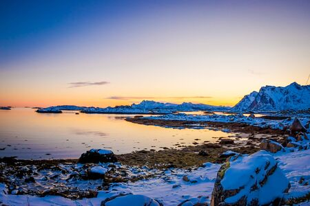 Beautiful outdoor view of snowy winter in the Arctic Circle