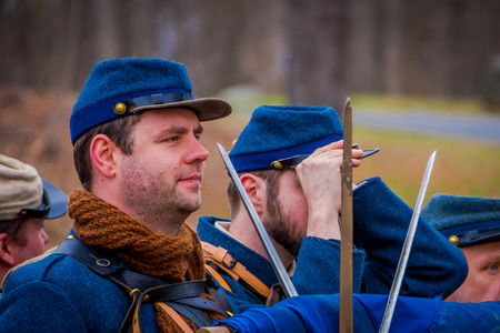 MOORPARK, CA, USA- APRIL 18, 2018: Close up of man, the Blue and Gray Civil War Reenactment in Moorpark, CA is the largest battle reenactment west of the Mississippi