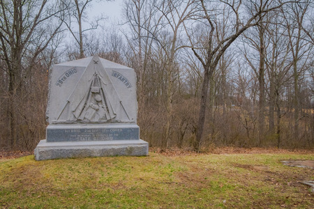 GETTYSBURG, USA - APRIL, 18, 2018: Outdoor view of stoned sculpture located a cemetery in Gettysburg National Battlefield Historical