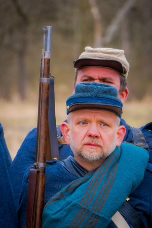 MOORPARK, USA - APRIL, 18, 2018: Close up of military wearing blue uniform representing the civil War Reenactment in Moorpark, the largest battle reenactment west of the Mississippi