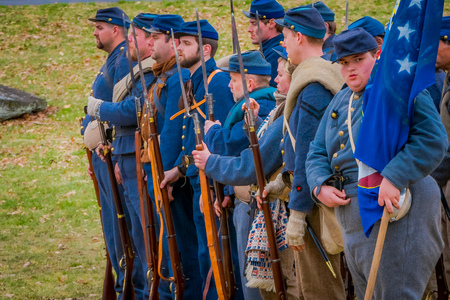 MOORPARK, USA - APRIL, 18, 2018: Group of military wearing blue uniform representing the civil War Reenactment in Moorpark, the largest battle reenactment west of the Mississippi