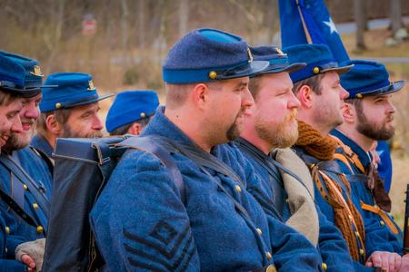 MOORPARK, USA - APRIL, 18, 2018: Group of people wearing blue uniform representing the Civil War Reenactment in Moorpark, the largest battle reenactment