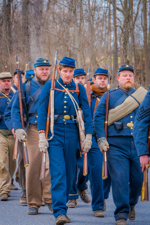 MOORPARK, CA, USA- APRIL 18, 2018: Unidentified people, wearing Blue uniform durin Civil War Reenactment in Moorpark, CA is the largest battle reenactment west of the Mississippi