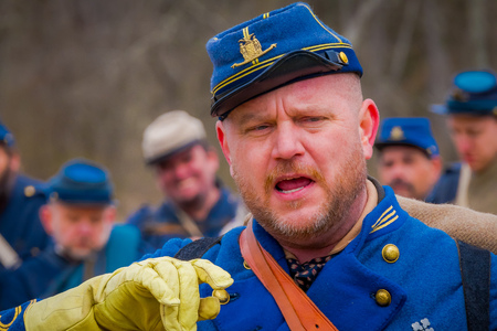MOORPARK, USA - APRIL, 18, 2018: Portrait of man wearing uniform representing the Civil War Reenactment in Moorpark, the largest battle reenactment