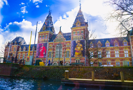 AMSTERDAM, NETHERLANDS, APRIL, 23 2018: Outdoor view of the Rijksmuseum is a Dutch national museum dedicated to arts and history