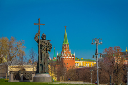 MOSCOW, RUSSIA- APRIL, 24, 2018: Outdoor view of bronze monument to Vladimir, the patron saint of the Russian Orthodox Church, about 100 yards from the Kremlin walls in Moscow