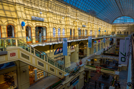 MOSCOW, RUSSIA- APRIL, 24, 2018: Inside famous GUM the large store in the Kitai-gorod part of Moscow facing Red Square. It is currently a shopping mall