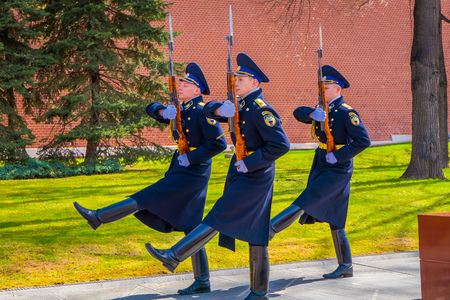 MOSCOW, RUSSIA- APRIL, 24, 2018: Outdoor view of guard of Honor march of change at the tomb of the Unknown Soldier in the Defenders Day celebration Otechestvaon in Moscow Redakční