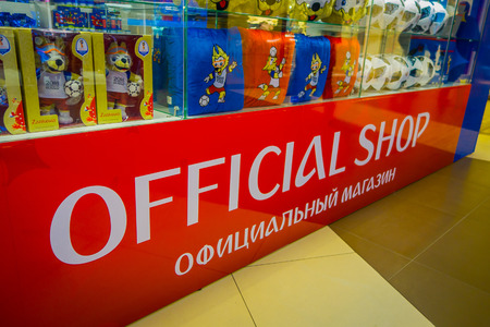 ST. PETERSBURG, RUSSIA, 02 MAY 2018: Gifts in the form of toy, balloon and pillow with a picture of the official mascot of the 2018 FIFA World Cup, the wolf Zabivaka in a souvenir shop