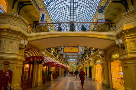 MOSCOW, RUSSIA- APRIL, 29, 2018: Indoor view of Gum department store in the Kitai-gorod facing Red Square, the largest and most over-the-top shopping malls in Moscow