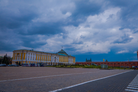 MOSCOW, RUSSIA- APRIL, 24, 2018: Outdoor view of the building of Armoury chamber and the Borovitskaya tower of the Moscow Kremlin Editorial