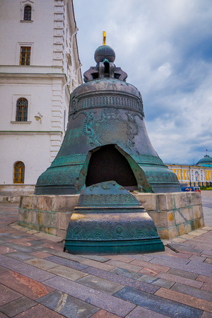 MOSCOW, RUSSIA- APRIL, 29, 2018: View of the Tsar Bell the largest bell in the world, commissioned by Empress Anna Ivanovna Peter the Greats niece , broken during metal casting and never been rung