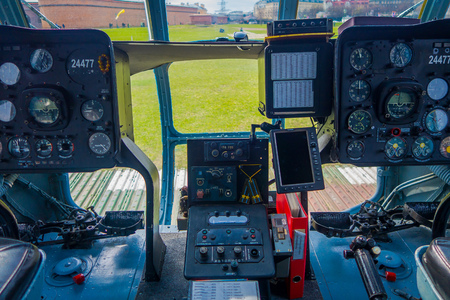 ST. PETERSBURG, RUSSIA, 17 MAY 2018: Close up of control cabin of an Aircraft the Mi-8 of Baltic Airlines stands at Peter and Paul Fortress, the Mi-8 is a passenger helicopter