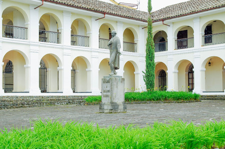 POPAYAN, COLOMBIA - FEBRUARY 06, 2018: The Guillermo Valencia National Museum is a neoclassical mansion, built in the 18th century by the architect Payan s P rez de Arroyo in Popayan
