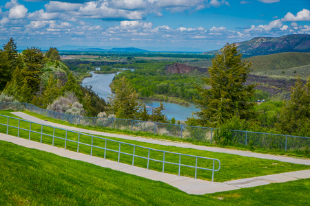 Beautiful aerial view of The Payette river in idaho, during a gorgeous sunny day and amazing landscape background