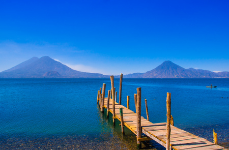 Landscape of the Atitlan Lake with a pier used by fishermen close to Panajachel