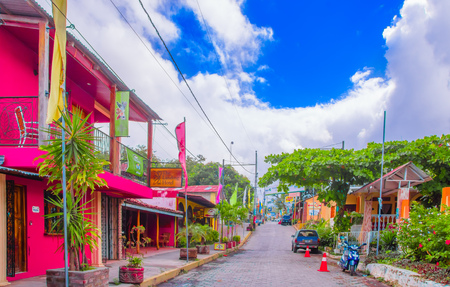 OMETEPE, NICARAGUA, MAY, 14, 2018: The main street of the village of Ometepe, is the largest village and the home of the largest of the three ferry ports