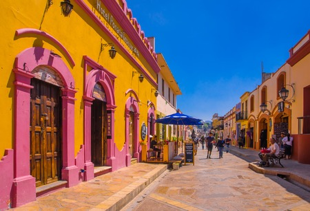 SAN CRISTOBAL DE LAS CASAS, MEXICO, MAY, 17, 2018: Streets in the cultural capital of Chiapas in the city center maintains its Spanish colonial layout and much of its architecture