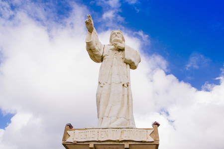 San Juan del Sur, Nicaragua - May 11, 2018: Colossal statue of Jesus Christ in the northernmost seawall in the bay of San Juan del Sur Editorial