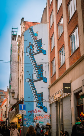 Brussels, Belgium, May, 31, 2018: Wall painting of Tintin and Captain Haddock in its country of creation