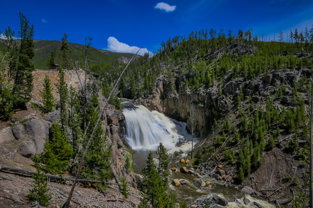 Outdoor view of the lower Falls on the Yellowstone River in Yellowstone National Park, Wyoming in Usa.