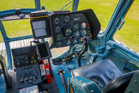 ST. PETERSBURG, RUSSIA, 17 MAY 2018: Close up of control cabin of an Aircraft the Mi-8 of Baltic Airlines stands at Peter and Paul Fortress, the Mi-8 is a passenger helicopter Stok Fotoğraf - 120296345
