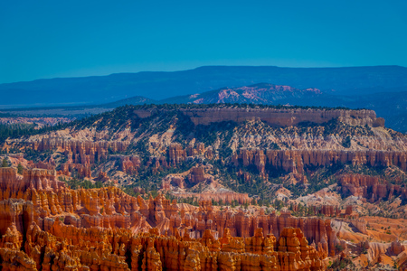 Beautiful outdoor view of Hoodoo landscape of Bryce Canyon National Park, USA in a gorgeous sunny day in blue sky.