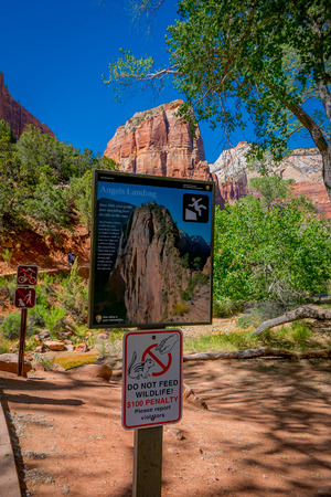 ZION, UTAH, USA - JUNE 12, 2018: Angels Landing Sign at Scout Lookout. The strenuous trail is a popular hiking climbing adventure in Zion National Park in USA.