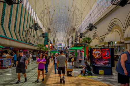 Las Vegas, NV, USA, June 15, 2018: Outdoor view of detail of freemont experience boulevard in las vegas-Nevada. USA