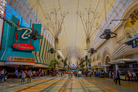 Las Vegas, NV, USA, June 15, 2018: Unidentified people walking at the famous Fremont Street, Nevada, with a light show. The street is the second most famous street in the Las Vegas Editorial