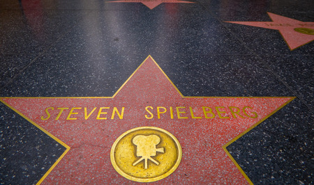 Los Angeles, California, USA, JUNE, 15, 2018: Steven Spielberg star on the Hollywood Walk of Fame, is made up of brass stars embedded in the sidewalks on Hollywood Boulevard
