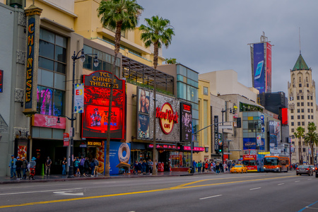 Los Angeles, California, USA, JUNE, 15, 2018: Outdoor view od stores and markets in the Street on Hollywood Boulevard . The theater district is famous tourist attraction