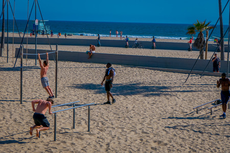 Los Angeles, California, USA, JUNE, 15, 2018: Outdoor view of muscle beach is the birth place of the physical fitness boom in the US during the 20th century in Santa Monica, Los Angeles