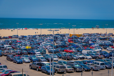 Los Angeles, California, USA, JUNE, 15, 2018: Outdoor view of Santa Monica skyline and beach parking from high viewpoint. This is a major attraction in Los Angeles area