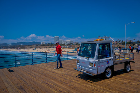 Los Angeles, California, USA, JUNE, 15, 2018: Outdoor view of Santa Monica small truck car parked on the famous Santa Monica Pier