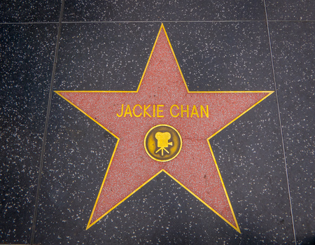 Los Angeles, California, USA, JUNE, 15, 2018: Outdoor view of Jackie Chans Hollywood Walk of Fame star in Hollywood, CA