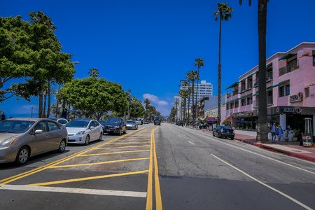 Los Angeles, California, USA, JUNE, 15, 2018: Street view in Santa monica. . The city is named after the Christian saint Monica