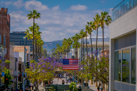 Los Angeles, California, USA, JUNE, 15, 2018: Above view of tourists and locals alike shop along the 3rd Street Promenade in Santa Monica