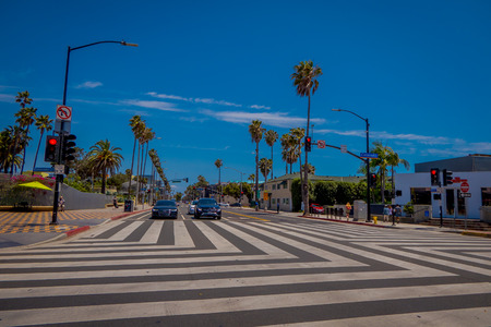 Los Angeles, California, USA, JUNE, 15, 2018: Outdoor view of Colorado Ave in Santa Monica. The street leads straight to the famous pier