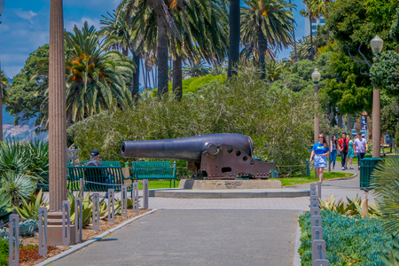 Los Angeles, California, USA, JUNE, 15, 2018: Unidentified tourists walking in the Santa Monica cannon park and birds of paradise Editorial