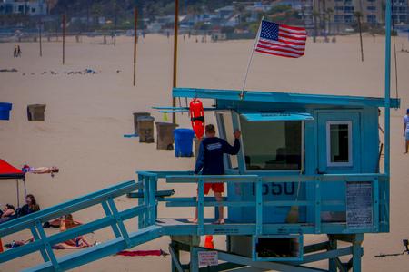 Los Angeles, California, USA, JUNE, 15, 2018: Outdoor view of Santa Monica beach lifeguard tower in California USA Editorial
