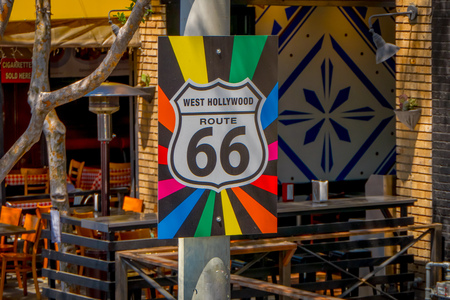 Los Angeles, California, USA, AUGUST, 20, 2018: Outdoor view of informative sign of original Route 66 road sign on a post Editorial