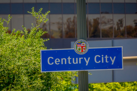 Los Angeles, California, USA, JUNE, 15, 2018: Outdoor view of Century city sign in a metallic structure with a building background defocused